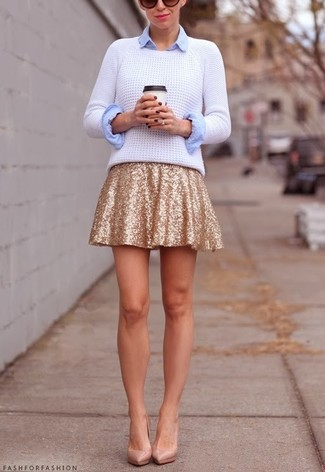 How to wear: white cable sweater, light blue dress shirt, gold sequin skater skirt, beige leather pumps