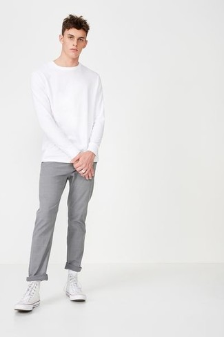 How to wear: white canvas high top sneakers, grey chinos, white sweatshirt