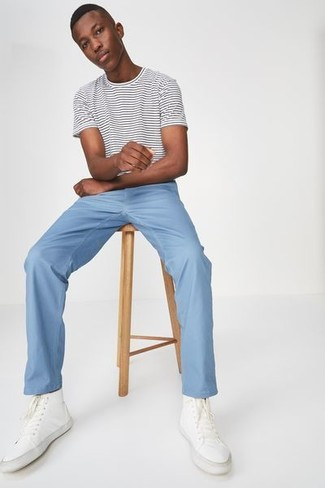 How to wear: white canvas high top sneakers, light blue chinos, white and black horizontal striped crew-neck t-shirt