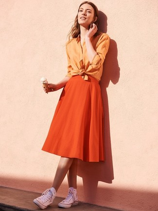 How to wear: white canvas high top sneakers, orange full skirt, orange dress shirt