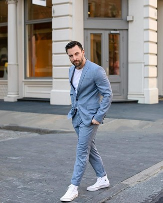 How to wear: white canvas high top sneakers, white crew-neck t-shirt, light blue check suit