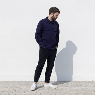 How to wear: white canvas low top sneakers, black chinos, navy shirt jacket