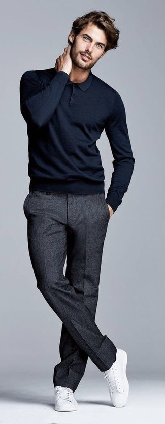 How to wear: white canvas low top sneakers, charcoal wool dress pants, black polo neck sweater