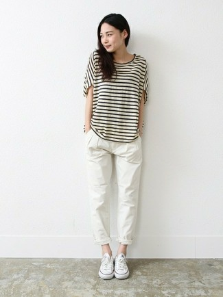 How to wear: white canvas low top sneakers, white chinos, white and black horizontal striped crew-neck t-shirt