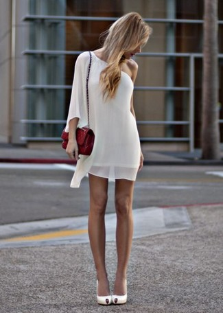 How to wear: white chiffon shift dress, white leather pumps, red quilted leather crossbody bag