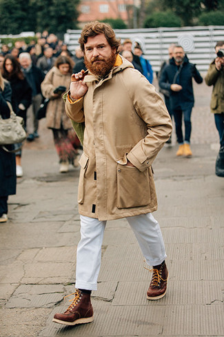 How to Wear a Beige Knit Turtleneck For Men: For a safe casual option, you can always rely on this combination of a beige knit turtleneck and white chinos. A pair of brown leather work boots adds a whole new dimension to an otherwise mostly classic look.