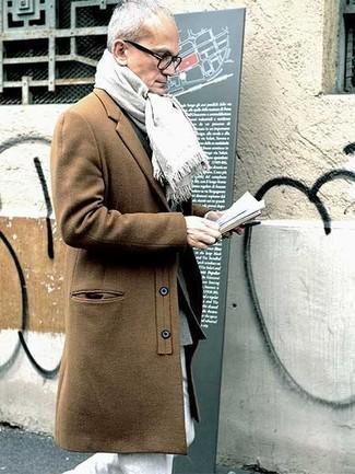 How to wear: white scarf, white chinos, grey wool blazer, camel overcoat