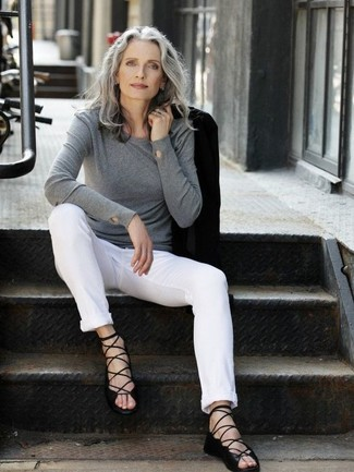 How to wear: black leather gladiator sandals, white chinos, grey crew-neck sweater, black blazer