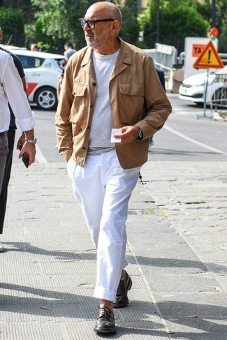 Men's Looks & Outfits: What To Wear In Spring: If you're looking to take your casual fashion game up a notch, consider teaming a khaki field jacket with white chinos. Introduce dark brown leather derby shoes to your look for an instant style upgrade. So if you're searching for an outfit that's stylish but also feels totally spring-ready, this one fits the bill.