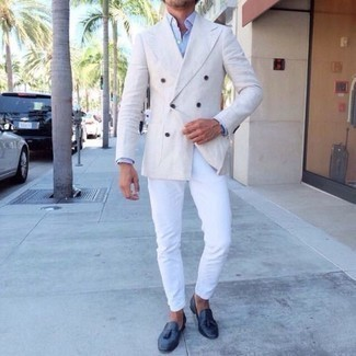 How to Wear a White Double Breasted Blazer For Men: A white double breasted blazer and white chinos are an easy way to introduce some sophistication into your current repertoire. And if you wish to immediately rev up your look with a pair of shoes, complete your look with navy leather tassel loafers.