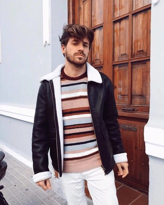 How to wear: white chinos, multi colored horizontal striped crew-neck sweater, black shearling jacket