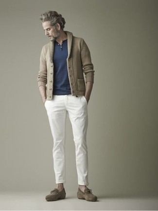 How to wear: olive suede tassel loafers, white chinos, navy henley shirt, tan shawl cardigan