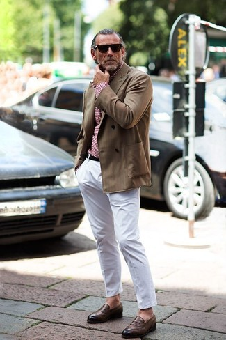 How to wear: brown leather loafers, white chinos, red gingham long sleeve shirt, brown double breasted blazer