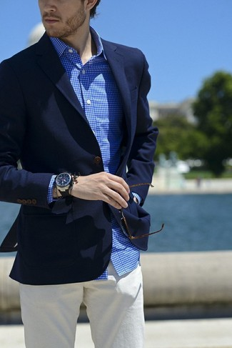 How to wear: black rubber watch, white chinos, white and blue gingham dress shirt, navy blazer