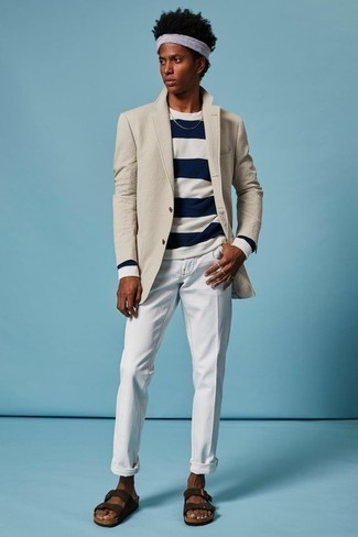 How to Wear a Beige Blazer For Men: You'll be surprised at how easy it is for any gentleman to get dressed this way. Just a beige blazer and white chinos. Finishing with dark brown suede sandals is an effortless way to bring a sense of stylish nonchalance to your getup.
