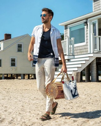 How to wear: dark green leather sandals, white chinos, white henley shirt, white and navy short sleeve shirt