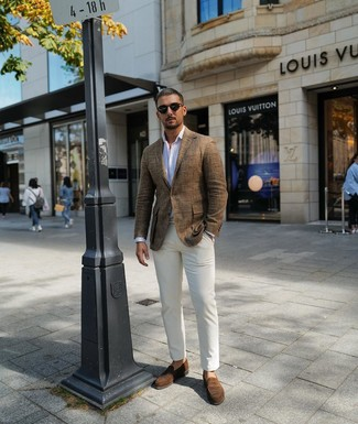 How to wear: brown suede loafers, white chinos, white vertical striped long sleeve shirt, brown linen blazer