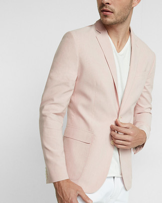 How to wear: white chinos, white v-neck t-shirt, pink blazer