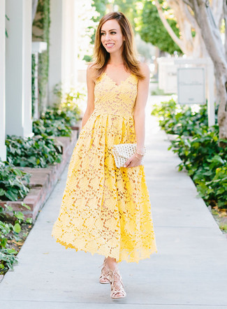 How to wear: gold bracelet, white crochet clutch, beige leather gladiator sandals, yellow crochet midi dress