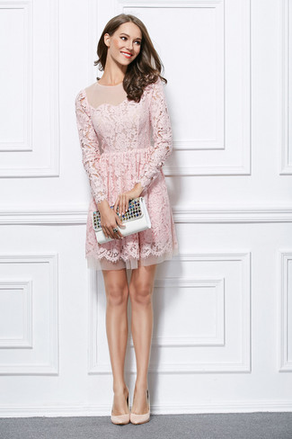 How to wear: black ring, white embellished leather clutch, beige leather pumps, pink lace fit and flare dress