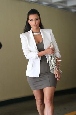 How to wear: silver necklace, white fringe leather clutch, grey bodycon dress, white blazer