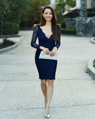 How to wear: silver bracelet, white leather clutch, silver leather pumps, navy lace bodycon dress
