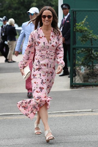 Pippa Middleton wearing Burgundy Sunglasses, White Leather Clutch, White Leather Heeled Sandals, Pink Floral Silk Maxi Dress