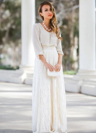 How to wear: white necklace, white leather clutch, white lace maxi skirt, white chiffon long sleeve blouse