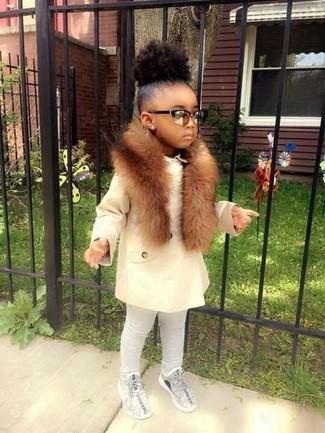 Girls' White Coat, Grey Leggings, Grey Sneakers, Brown Fur Scarf