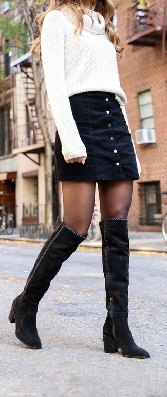 How to wear: white cowl-neck sweater, black denim button skirt, black suede over the knee boots