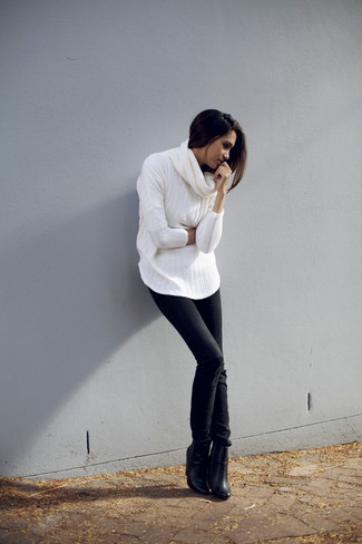 How to wear: white cowl-neck sweater, black skinny jeans, black leather ankle boots