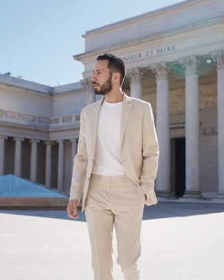 How to wear: white crew-neck t-shirt, beige suit