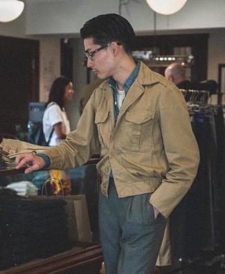 How to wear: charcoal dress pants, white crew-neck t-shirt, blue chambray long sleeve shirt, khaki field jacket