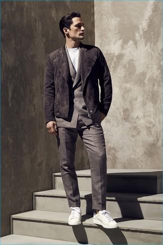 How to wear: white leather low top sneakers, white crew-neck t-shirt, dark brown suit, dark brown suede biker jacket