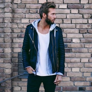 How to wear: black jeans, white crew-neck t-shirt, grey hoodie, black quilted leather biker jacket