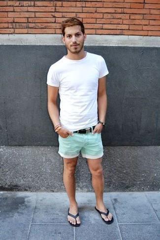 How to wear: white crew-neck t-shirt, mint shorts, black flip flops, black canvas belt