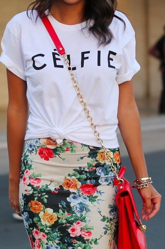 White crew neck t shirt multi colored floral pencil skirt red crossbody bag large 885