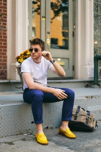 How to wear: white crew-neck t-shirt, navy chinos, yellow suede loafers, no show socks