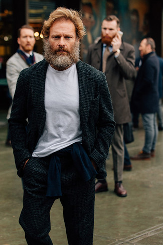How to wear: white crew-neck t-shirt, navy crew-neck sweater, charcoal wool suit