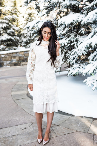 How to wear: white crochet midi dress, silver leather pumps