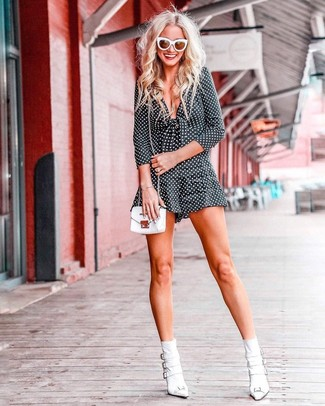 How to wear: white sunglasses, white leather crossbody bag, white leather ankle boots, black and white polka dot playsuit