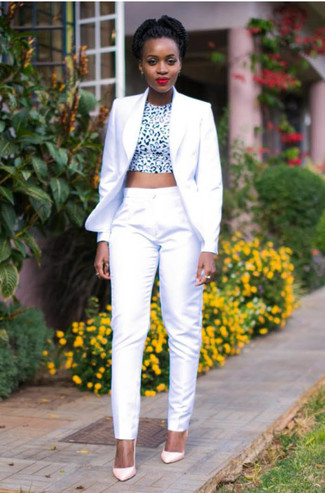 How to wear: pink leather pumps, white dress pants, white and black leopard cropped top, white blazer