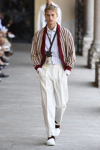 How to wear: white leather slip-on sneakers, white vertical striped dress pants, white vertical striped long sleeve shirt, red and white shawl cardigan