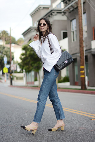 How to wear: white dress shirt, blue jeans, mustard suede pumps, black quilted leather satchel bag