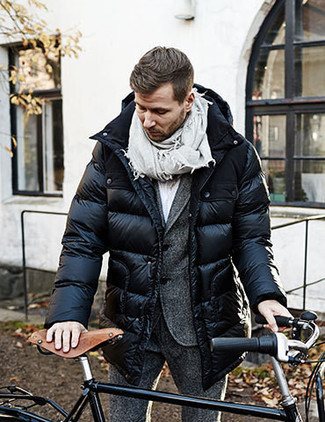 How to wear: grey scarf, white dress shirt, charcoal wool suit, black puffer coat