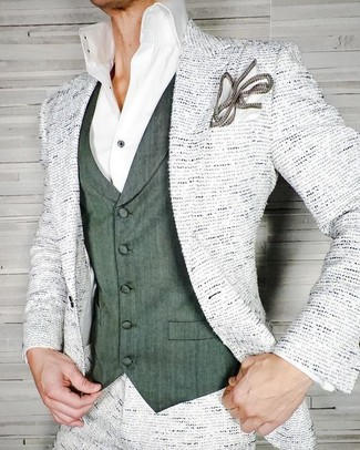 How to wear: white pocket square, white dress shirt, dark green waistcoat, white tweed blazer