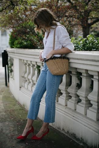 How to wear: white dress shirt, light blue jeans, red satin pumps, tan straw crossbody bag