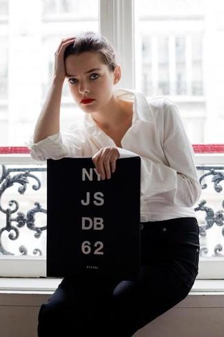 White dress shirt navy jeans large 459