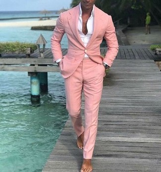 How to wear: white dress shirt, pink suit