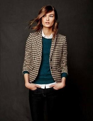 How to wear: black skinny jeans, white dress shirt, teal crew-neck sweater, tan gingham blazer
